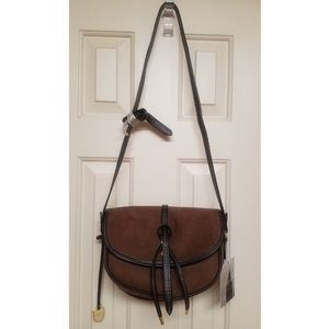 London Fog: Newbury crossbody suede saddle bag